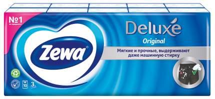 Платочки бумажные носовые Zewa Deluxe, 3 слоя, 10х10 шт