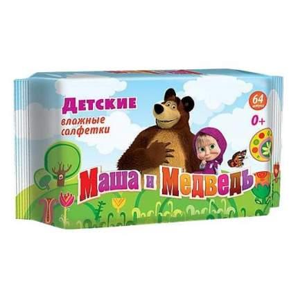 Детские влажные салфетки Авангард Маша и Медведь 64 шт.