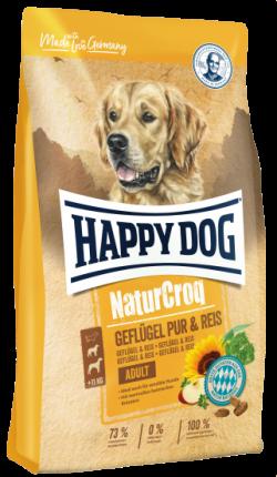 Сухой корм для собак Happy Dog NaturCroq Adult, все породы, с птицей с рисом, 15кг