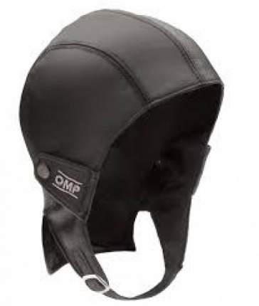 Шапка REIMS чёрная кожаная в стиле винтаж, р-р M OMP Racing SC067M