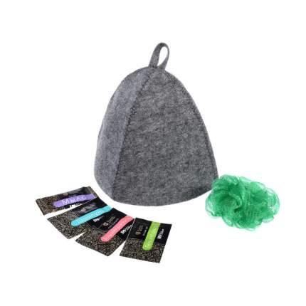 Подарочный набор Банные штучки, 6 предметов (шапка, мочалка, бальзам, шампунь, гель, мыло)