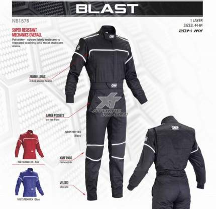 Комбинезон механика BLAST, черный, р-р 50 OMP Racing NB157807150