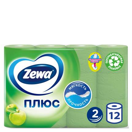 Туалетная бумага Zewa Плюс Яблоко, 2 слоя, 12 рулонов
