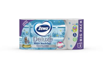 Туалетная бумага Zewa Deluxe Белая, 3 слоя, 8 рулонов