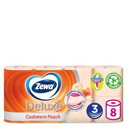 Туалетная бумага Zewa Deluxe Персик, 3 слоя, 8 рулонов