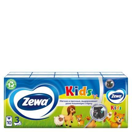 Детские носовые платочки бумажные Zewa Kids, 3 слоя, 10шт.Х10
