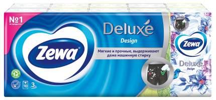 Платочки бумажные носовые Zewa Deluxe Design, 3 слоя, 10шт.Х 10