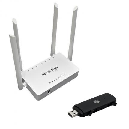 Усилитель интернет сигнала Huawei E3372 с роутером ZBT WE 1626