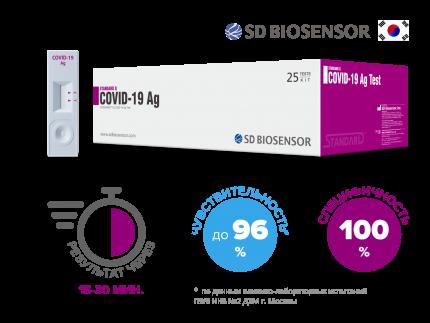 Медицинские тесты SD BIOSENSOR Standard Q Covid-19 Ag Набор на 25 человек