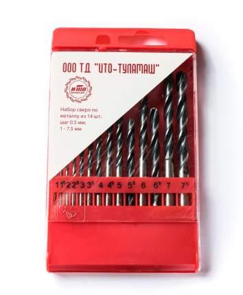 Набор сверл по металлу Р6М5 1-7.5 мм 14 шт ТУЛАМАШ 72664