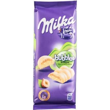 Шоколад белый пористый Milka bubbles с фундуком 83 г