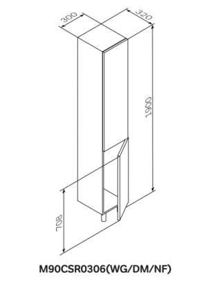 Шкаф-колонна напольный правый GEM M90CSR0306NF