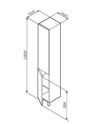 Шкаф-колонна напольный, левый, GEM M90CSL0306NF