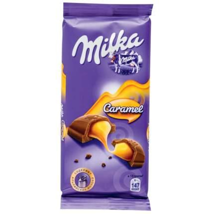 Шоколад молочный Milka с карамельной начинкой 90 г