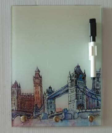 Ключница из стекла с доской для записи-27832 (с маркером), 18х24 см Феникс-Презент