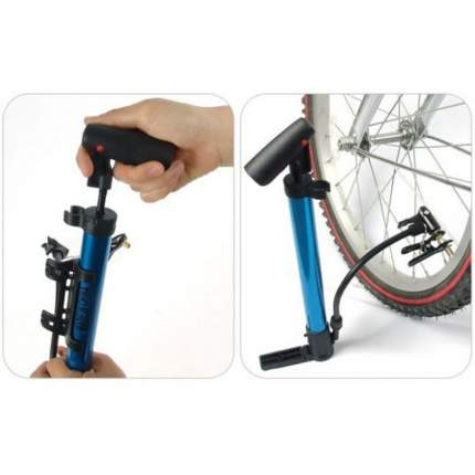 Насос для велосипедов и мячей, синий, MoscowCycling MC-PUMP-02