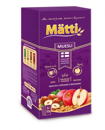 Mätti  Мюсли с орехом и яблоком, 5*50 г