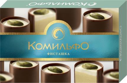 Конфеты шоколадные с двухслойной начинкой Комильфо фисташка 116 г
