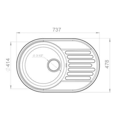 Мойка Raiber RQ55 круглая с крылом, антрацит