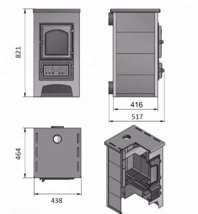 Печь-камин Везувий ПК-01(205) с плитой песчаник пристенный
