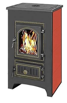 Печь-камин Везувий ПК-01(270) с плитой красный пристенный