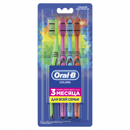 Мануальная Зубная Щетка Oral-B Color Collection, Семейный Набор Из 4 Зубных Щеток