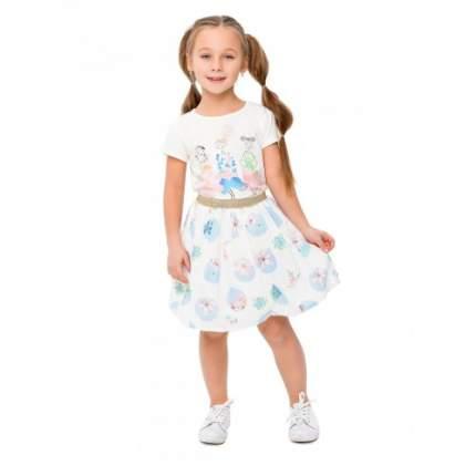 Комплект для девочек текстильный Футболка+Юбка BIDIRIK, цв. голубой, р-р 104