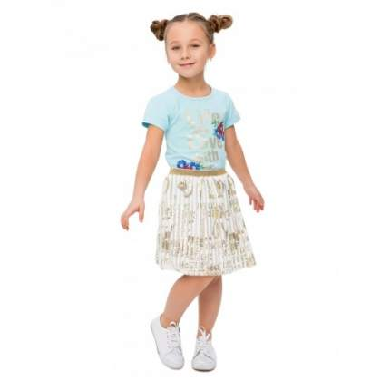 Комплект для девочек текстильный Футболка+Юбка BIDIRIK, цв. голубой, р-р 116