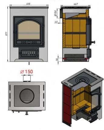Печь-камин Везувий ПК-01(205) с плитой красный пристенный