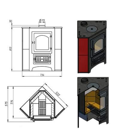 Печь-камин Везувий ПК-01(205) красный угловой