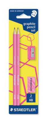 Карандаш ч/графит. Wopex, HB, розовый неон, 2 шт.+точилка+ластик, Staedtler