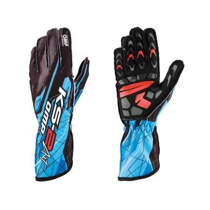 Перчатки для картинга KS-2 ART, чёрный/голубой, р-р XL OMP Racing KK02748275XL