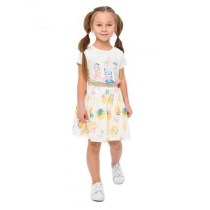 Комплект для девочек текстильный Футболка+Юбка BIDIRIK, цв. желтый, р-р 110