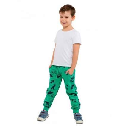 Брюки трикотажные для мальчиков c рис. Гитары KIDAXI, цв. зеленый, р-р 110