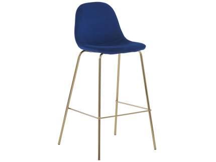 Барный стул Валенсия, золотые ножки Синий, велюр