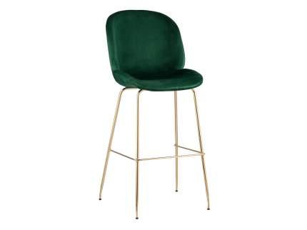 Барный стул Турин со спинкой Изумрудный, велюр