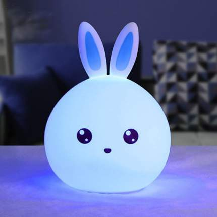 Светильник-ночник силиконовый Baziator Зайчик синие ушки