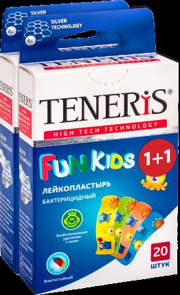 Лейкопластырь TENERIS FUN KIDS бактерицидный с ионами серебра с рисунками 20+20 шт.