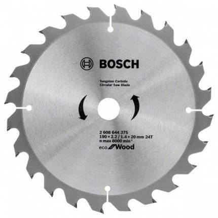 Пильный диск твердосплавный BOSCH Ф190х20мм 24зуб. (ECO WO 2608644375)