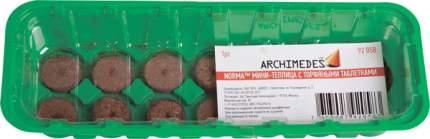 Мини-тепличка Archimedes с торфяными таблетками (36 мм), 14 ячеек