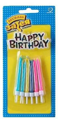 Веселая затея 1502-1124 свечи для торта 12 шт + табличка с днем рождения