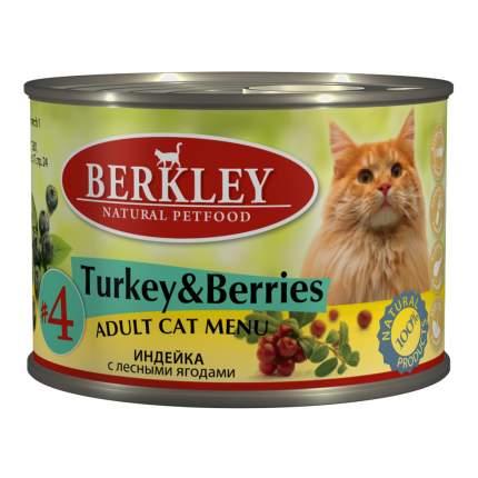 Консервы для кошек Berkley Adult Menu №4, паштет с индейкой с лесными ягодами, 200г