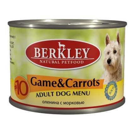 Консервы для собак Berkley Menu, дичь, морковь, оливковое масло, 200г