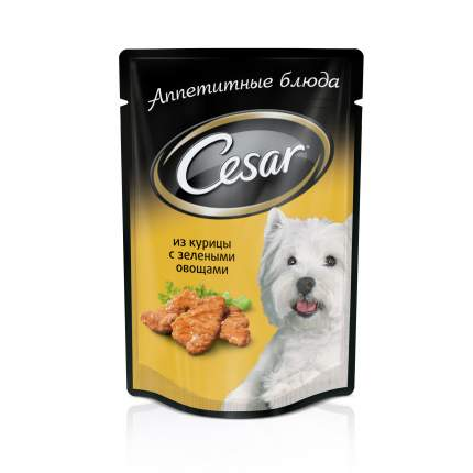 Влажный корм для собак Cesar, курица с зелеными овощами, 100г
