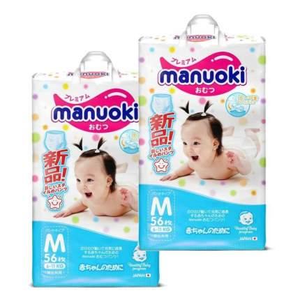 Подгузники-трусики MANUOKI М (6-11 кг), 2х56 шт.