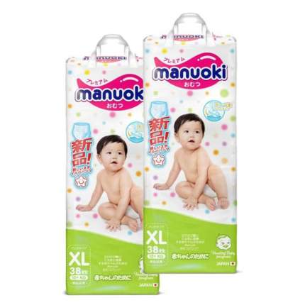 Подгузники-трусики MANUOKI XL (12+ кг), 2х38 шт.