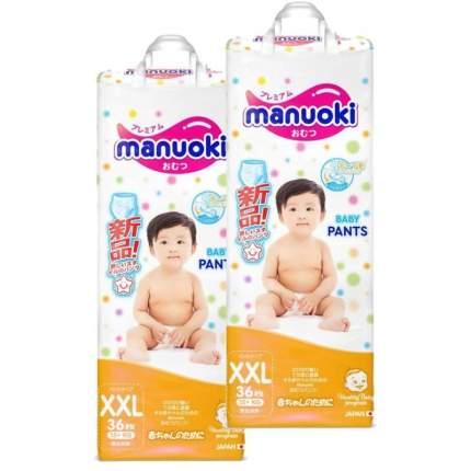 Подгузники-трусики MANUOKI XXL (15+ кг), 2х36 шт.