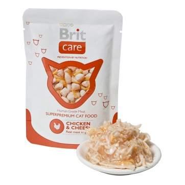 Влажный корм для кошек Brit Care Chicken & Cheese, с курицей и сыром, 80г