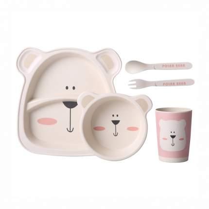 Детский столовый набор Baby Fox BF-BOWL-65 Белый медвежонок цв. бежевый