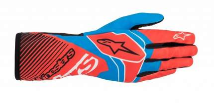 Перчатки для картинга TECH 1 K RACE v2 красный/голубой, р-р L Alpinestars 3552020_3074_L